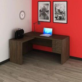 Escrivaninha Canto Escritório Home Office 3 Gavetas Rústico