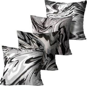 Kit com 4 Almofadas Mdecore Abstrata P/B45x45cm