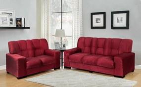 Conjunto De Sofá São Jorge 3 E 2 Lugares Tecido Suede Amassado Vermelho - Moveis Marfim