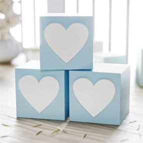 Cubo MDF Azul Personalizado Coração 6x6cm Grão de Gente Azul