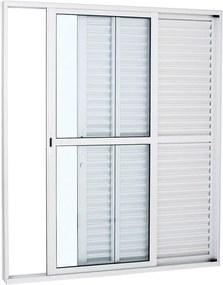 Porta Balcão de Alumínio de Correr Alumifort Branca 3 Folhas Abertura Direita 216x160x13 - Sasazaki - Sasazaki