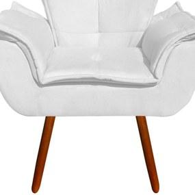 Poltrona D'Rossi Decorativa Opala Suede Branca