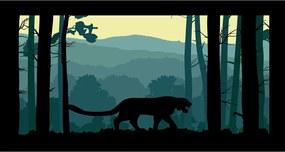 Quadro Alto Relevo Tigre Arvores Floresta Verde40x75cm