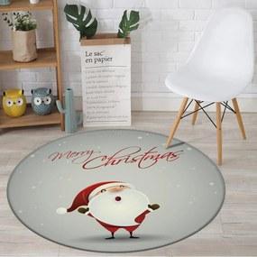 Tapete de Natal Redondo Feliz Natal com Papai Noel Cinza 84cm
