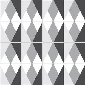 Adesivo Azulejo Geométrico Cinza Preto Branco 14826
