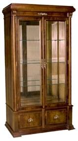 Cristaleira George IV Vitrine 2 Portas Madeira Maciça Marchetaria Design Clássico