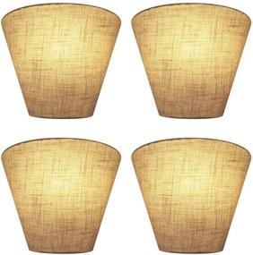 Kit/4 Arandela Retro Cone Md-2001 Cúpula em Tecido 25/26x13cm Rustico Bege - Bivolt