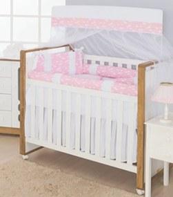 Kit Berço I9 baby americano Rolinhos 100%Algodão Nuvem Rosa- 9 peças