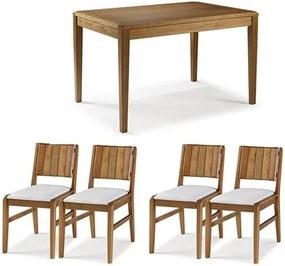 Conjunto Mesa Jantar Tampo Madeira + 4 Cadeiras Salvador Assento Estofado - 60474 Sun House