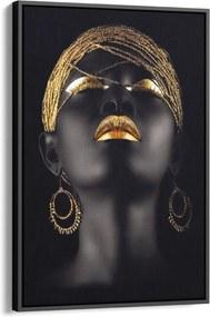 Quadro 90x60cm Mulher Negra Maquiagem Dourada Beltza Moldura Flutuante Filete Preta