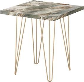 Mesa Lateral Quadrada Petra 45 cm Pés de Ferro Dourado  D'Rossi Cinza