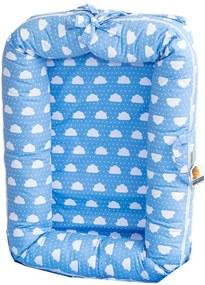 Berço Portátil Ninho Redutor para Bebê Nuvens Poá Azul Coleção Nuvenzinha