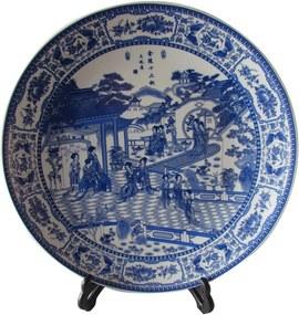 Prato Decorativo em Porcelana Paisagem Azul e Branco D35cm