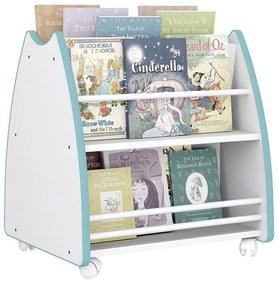 Biblioteca Porta Livros Infantil Abraço De Mãe 4 Rodízios - Branco/azul