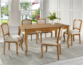 Mesa Retangular 180cm Com 6 Cadeiras Luiz XV Linz Móveis