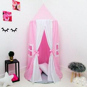 Kit 4 Peças Tenda Cabaninha de Teto Infantil Casinha de Boneca Janelinha com Tapete e Almofada Rosa e Branco