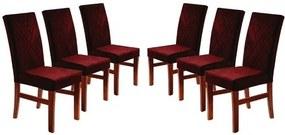 Kit 6 Cadeiras de Jantar Estofada Bordô em Veludo Elmas