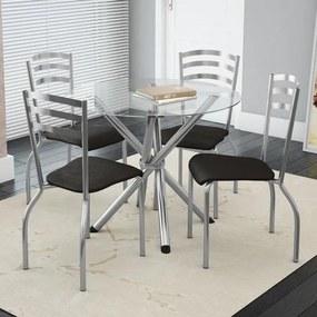 Conjunto Mesa Redonda de Vidro e 4 Cadeiras Portugal Kappesberg - Cromado/Preto