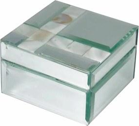 Porta Jóias de Espelho e Madrepérola 10x10x6,5 Cm