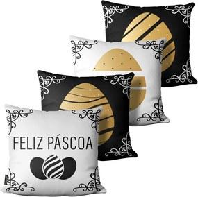 Kit com 4 capas para Almofadas de Páscoa Ovos Preto Branco45x45cm