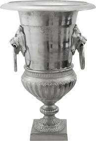 Vaso em Aluminio Prateado Grande Decorativo Eros
