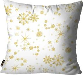 Capas para Almofada Premium Cetim Mdecore Natal Flocos de Neve Branca 45x45cm