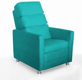 Poltrona do Papai reclinável Salem Decorativa Suede Azul Tiffany