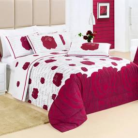 Cobre Leito Casal Craft 100% Algodão 200 Fios 03 Peças - Vermelho Vermelho