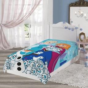 Manta Fleece Solteiro Estampada Frozen 1,50 m x 2,20 m Com 1 peça - Produto Importado Lepper Azul-Claro