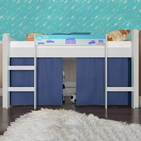 Cama Infantil Cama Elevada Sem Escorregador Branco/Azul Bb 870 - Completa Móveis