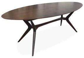 Mesa de Jantar Pé Palito Oval Madeira Maciça Design Retrô