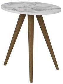 Mesa de Canto 1006R Branco/Carrara - Be Mobiliario