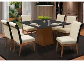Conjunto Mesa Luiza 1,35 Preto + 6 Cadeiras Larissa Linho Alto Relevo Bege Detalhe do encosto em Courissimo Facto Preto