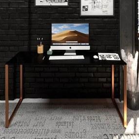 Mesa Para Escritório Diretor Estilo Industrial  Vintage | Tam: 120x60 |Cor: Preto Com Cobre Eco