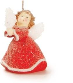 Vela de Anjo Decoração Natalina 9x6 Cm Cor Vermelho Parafina