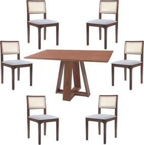 Conjunto Mesa Shell com Tampo Amadeirado 160x90 cm e 6 Cadeiras Nivea Amêndoa - Gran Belo