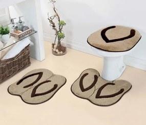 Jogo de Banheiro Formatos 3 Peças - Chinelo Marrom