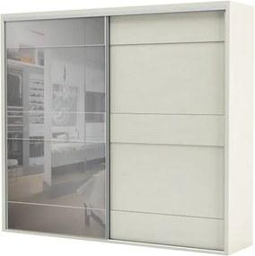 Armario Premium com Espelho 2 Portas e 4 Gavetas cor Off White 2,67 MT (LARG) - 56462 Sun House