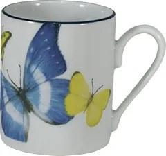 Xicara Café C/ Pires Porcelana Schmidt - Dec. Borboletas do Brasil
