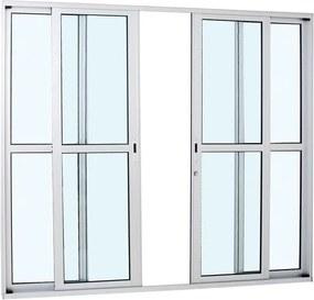 Porta de Alumínio de Correr Alumifort Branca com Divisão Central 4 Folhas 216x250x8,7 - Sasazaki - Sasazaki