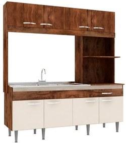 Cozinha Compacta Completa Luisa 08 Portas 01 Gavetas 200x185x54 Cm Itauba Crema - MegaSul