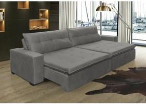 Sofá Retrátil, Reclinável Oklahoma 2,72m, Molas e Pillow no Assento Tecido Suede Cinza Cama InBox