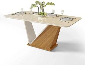 Mesa de Jantar DJ Móveis Ariel para 06 Cadeiras Tampo de Vidro 180cm Carvalho Nobre Off White