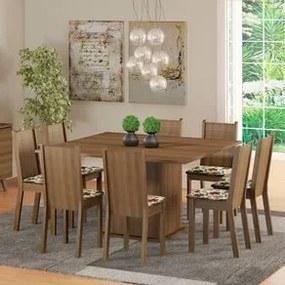 Conjunto Sala de Jantar Madesa Clarice Mesa Tampo de Madeira com 8 Cadeiras Rustic/Floral Hibiscos Cor:Rustic/Floral Hibiscos