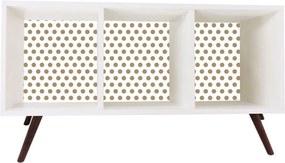 Estante Horizontal com Fundo 90 cm Bolinhas Branco Phorman
