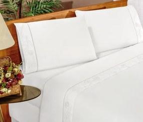 Roupa de Cama Casal Padrão Imperial 180 Fios 04 Peças - Branco  Branco