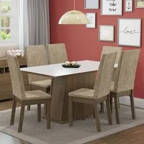 Conjunto Sala de Jantar Madesa Thaís Mesa Tampo de Madeira com 6 Cadeiras Rustic/Branco/Imperial Cor:Rustic/Branco/Imperial