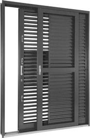 Porta Balcão de Aço de Correr Multiflex Silenfort 3 Folhas Abertura Direita 217x160x16 - Sasazaki - Sasazaki
