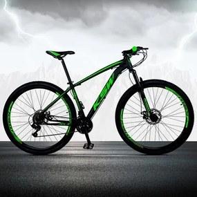 Bicicleta XLT Aro 29 Quadro 15 Alumínio 21 Marchas Suspensão Freio Disco Preto/Verde - KSW
