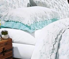 Roupa de Cama Casal King Coleção Nuance 04 Peças - Branco / Azul